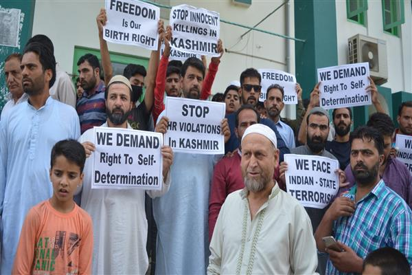 JRL held protest against NIA raids, detentions, use of brute force against innocent people | KNO